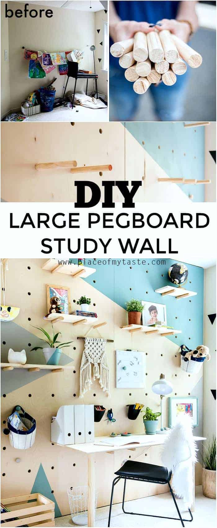 Pinterest pin for DIY large pegboard study wall