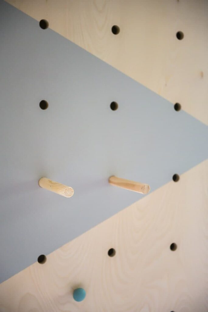 inserting dowels into wall
