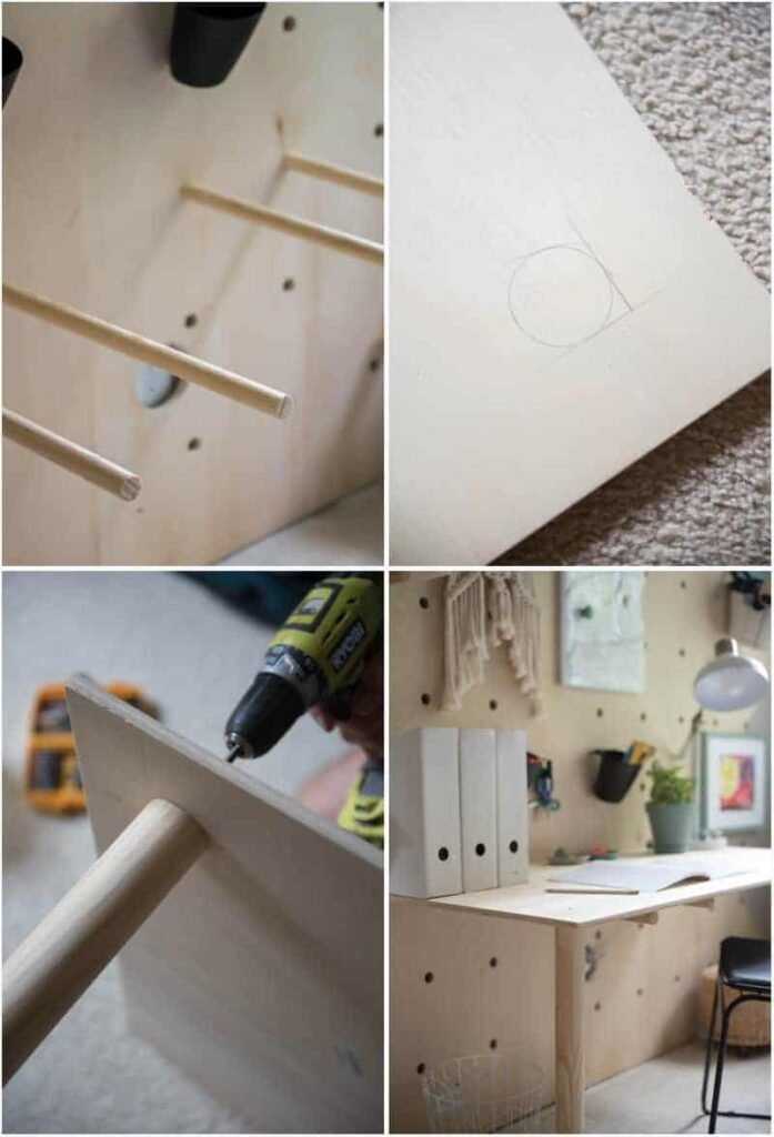 collage of photos showing how to build wall and desk