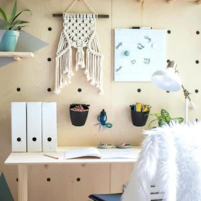 DIY PLYWOOD PEGBOARD WALL