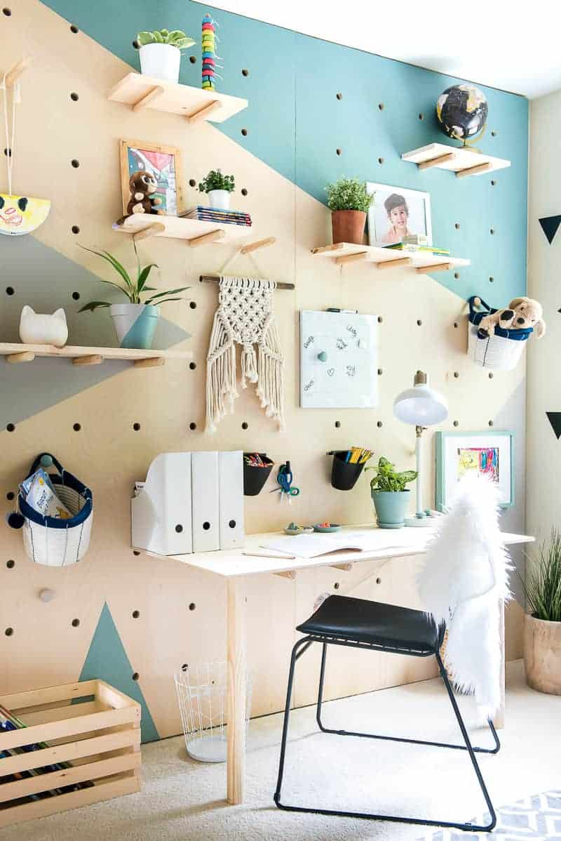 AMAZING DIY PLYWOOD PEGBOARD STUDY WALL with Behr on trend colors!