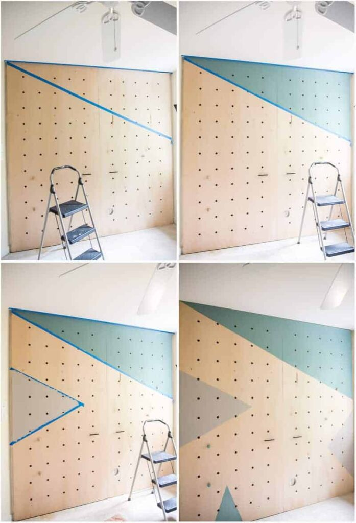 painting triangles on the pegboard