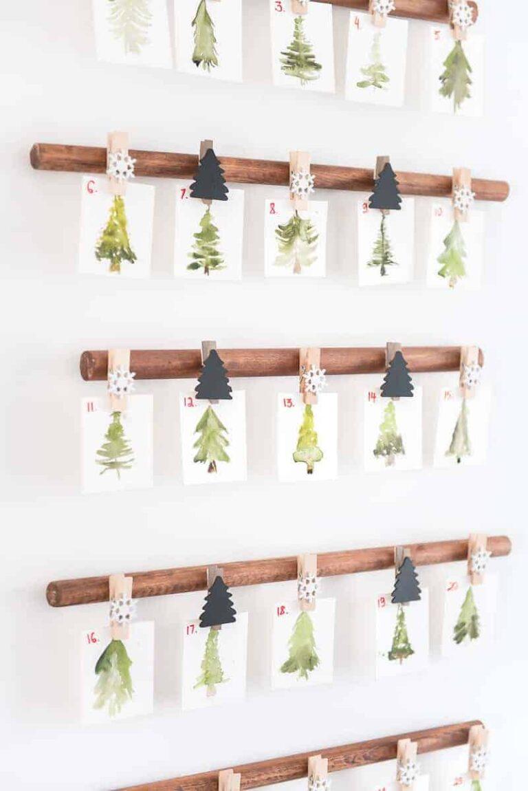 CHRISTMAS COUNTDOWN calendar- WATERCOLOR MINI TREES