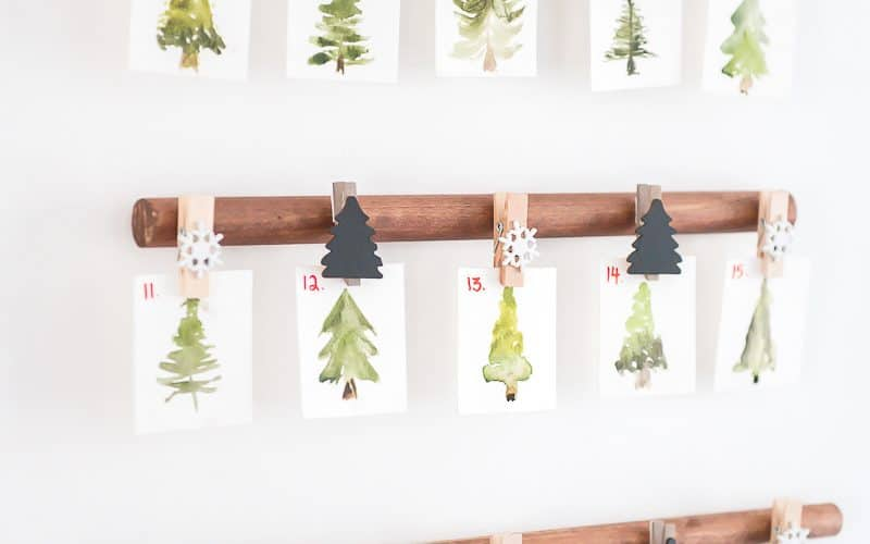 CHRISTMAS COUNTDOWN calendar- WATERCOLOR MINI TREES
