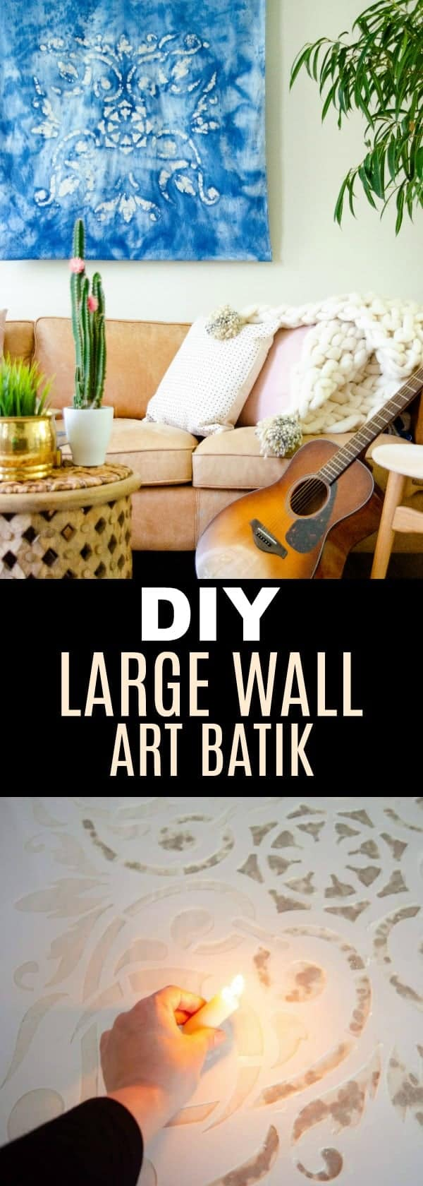 Make this awesome Stencil Revolution Large Wall Art Batik! #stencilrevolution #largewallart #wallart #batik #tapastry #DIYwallhanging #textile #waxrelief #waxart #tiedye