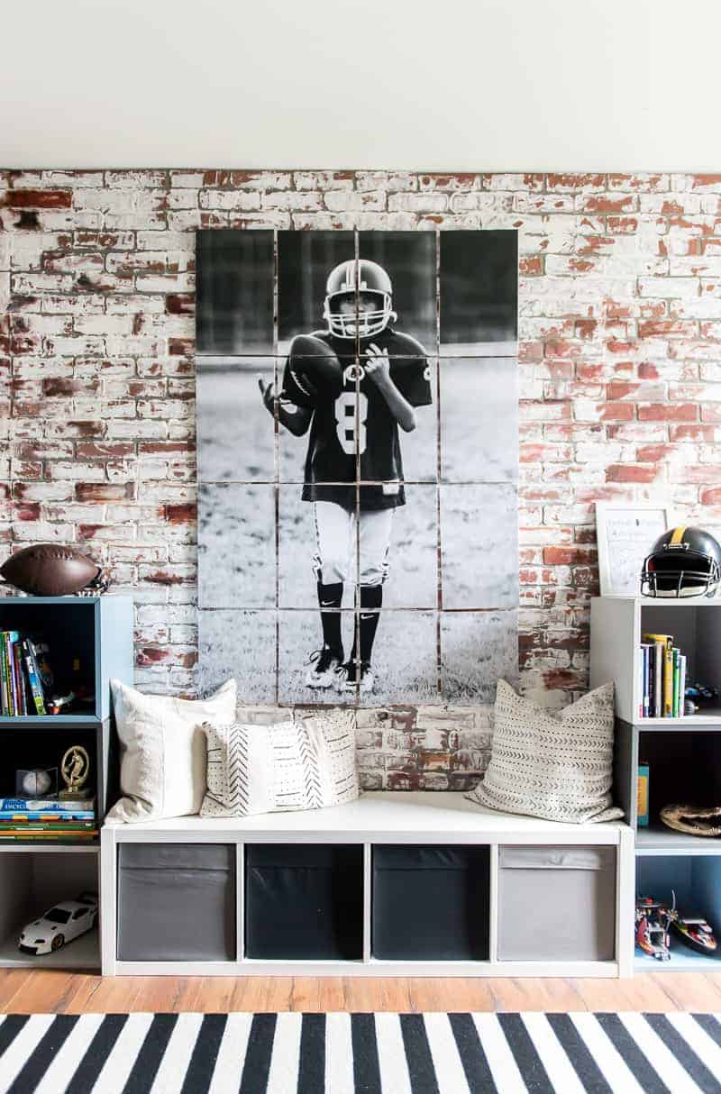 Photo Of Boy In Football Jersey Tossing Ball To Himself Printed Multiple Imageounted