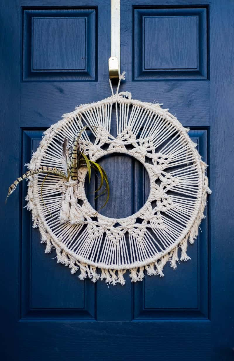Macrame Wreath on the front door