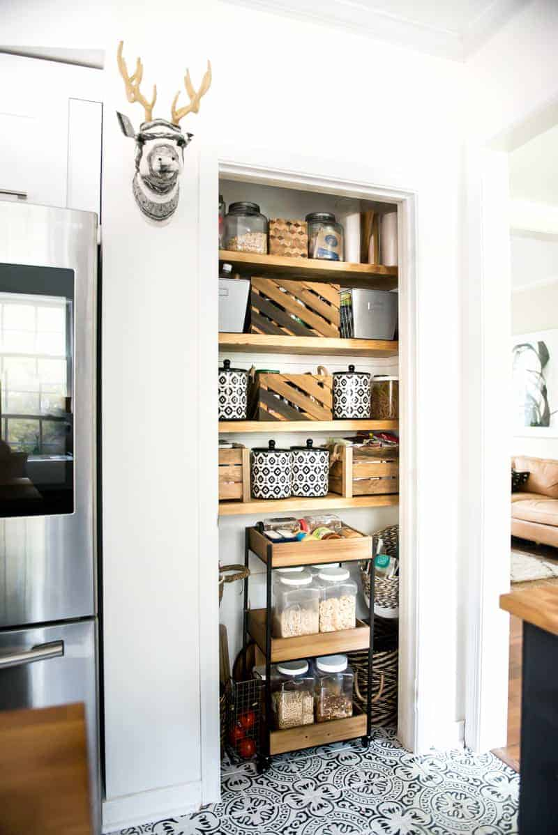 open pantry and chunky shelves in pantry