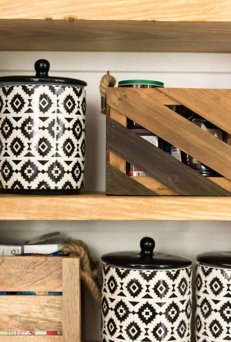 beautiful open shelves in pantry