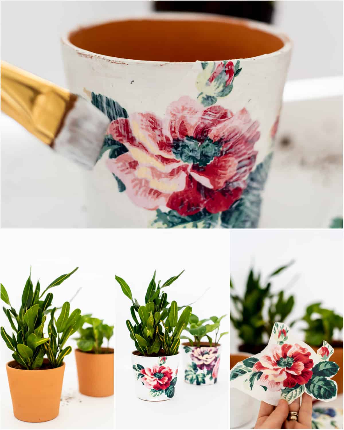 pretty clay pots decoupaged with napkins