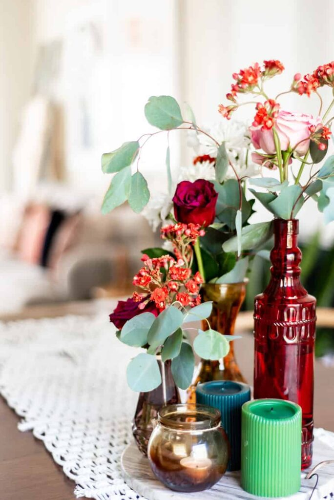 Beautiful dollar store vases dressed up in a boho home.