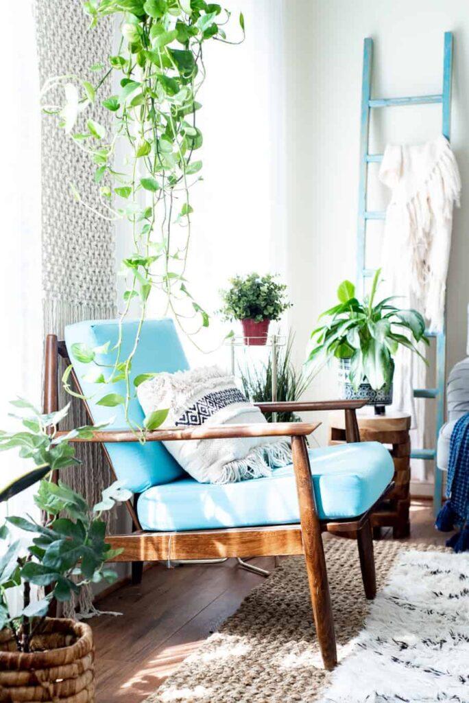 Mid MOdern Blue chair in a Boho Home