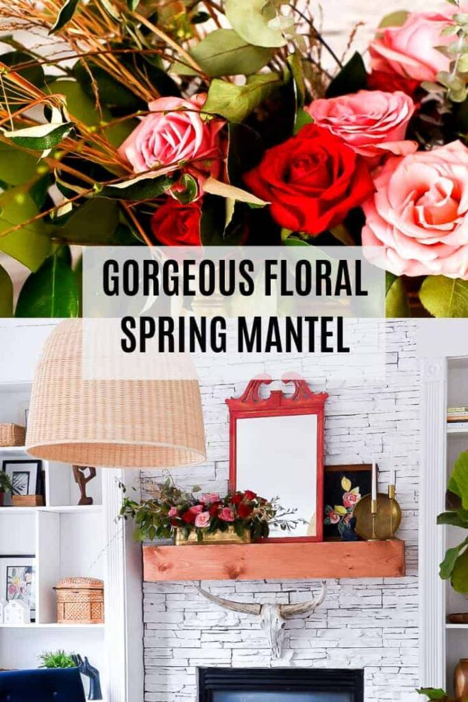 What a gorgeous Floral Spring Mantel. Grab some flowers and greens and decorate your mantel for Spring!