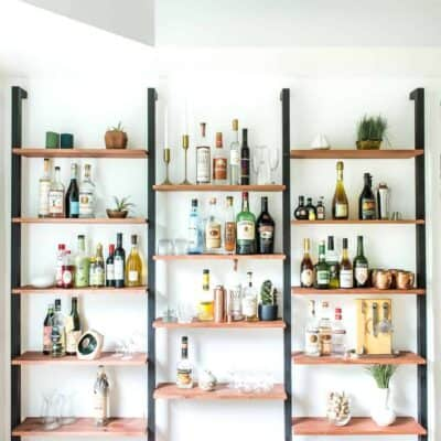 ONE ROOM CHALLENGE WEEK 4 | DIY WALL SHELVING \ BAR WALL