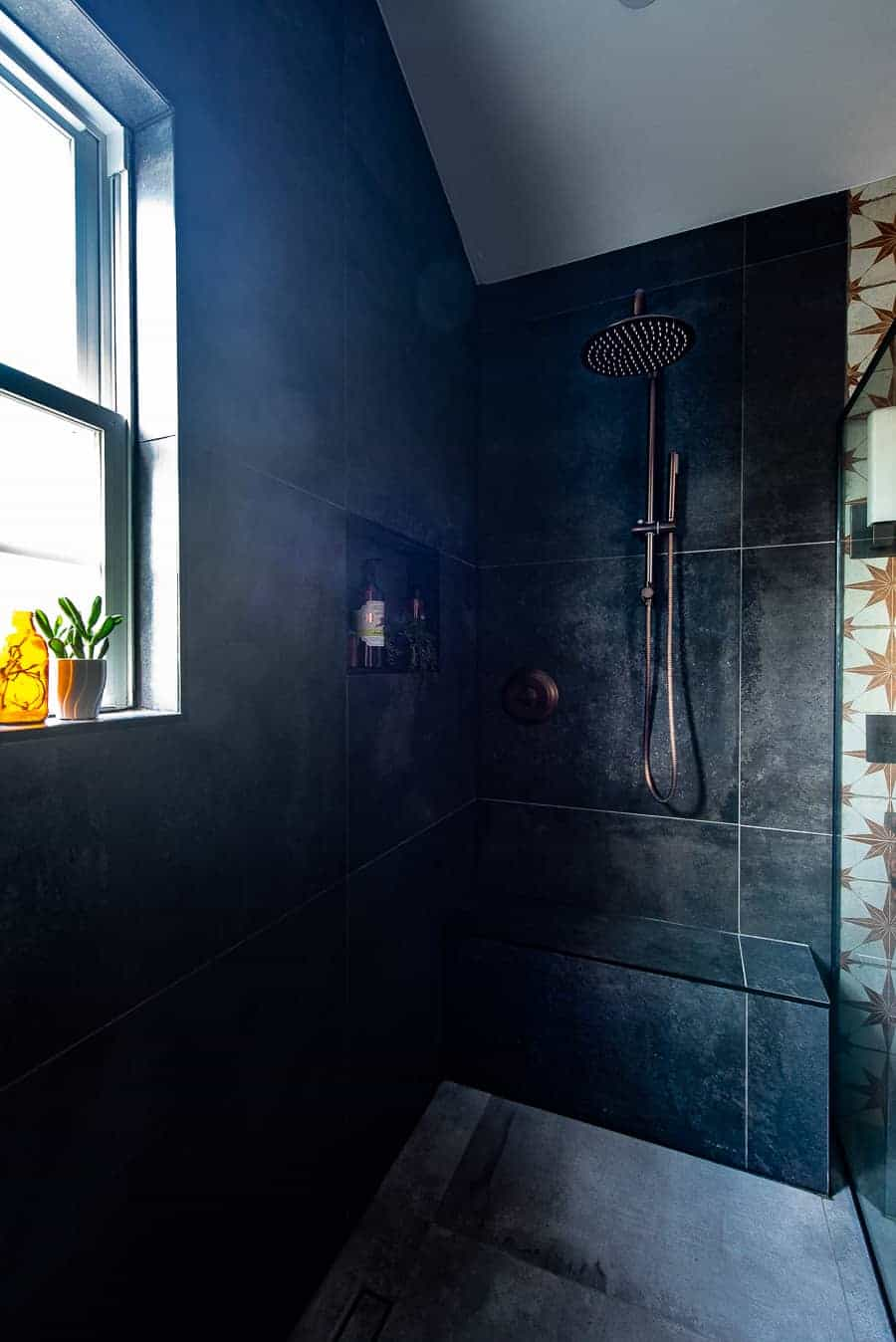 black tile in bathroom