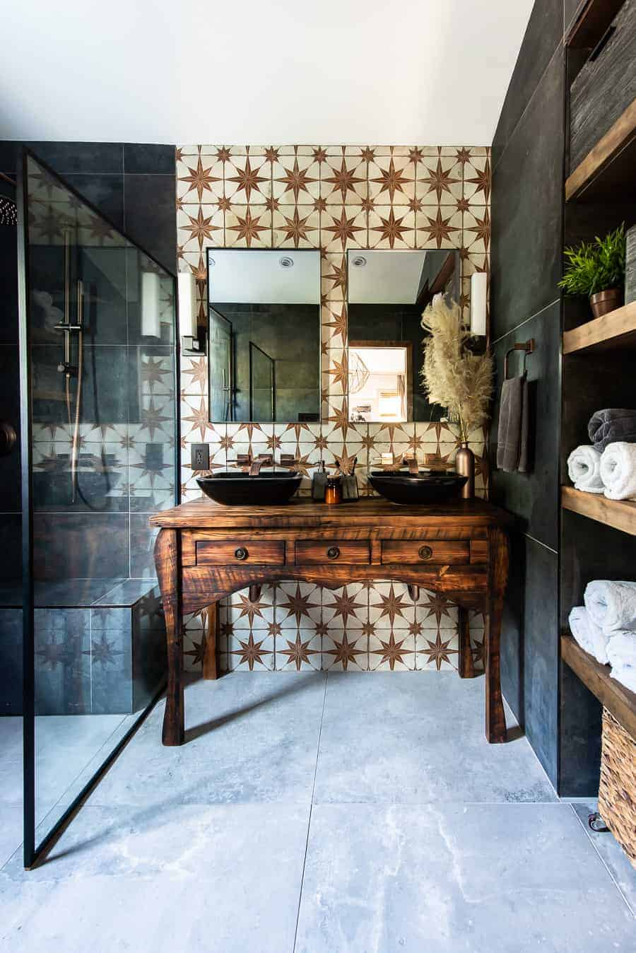 Mixed material bathroom makeover