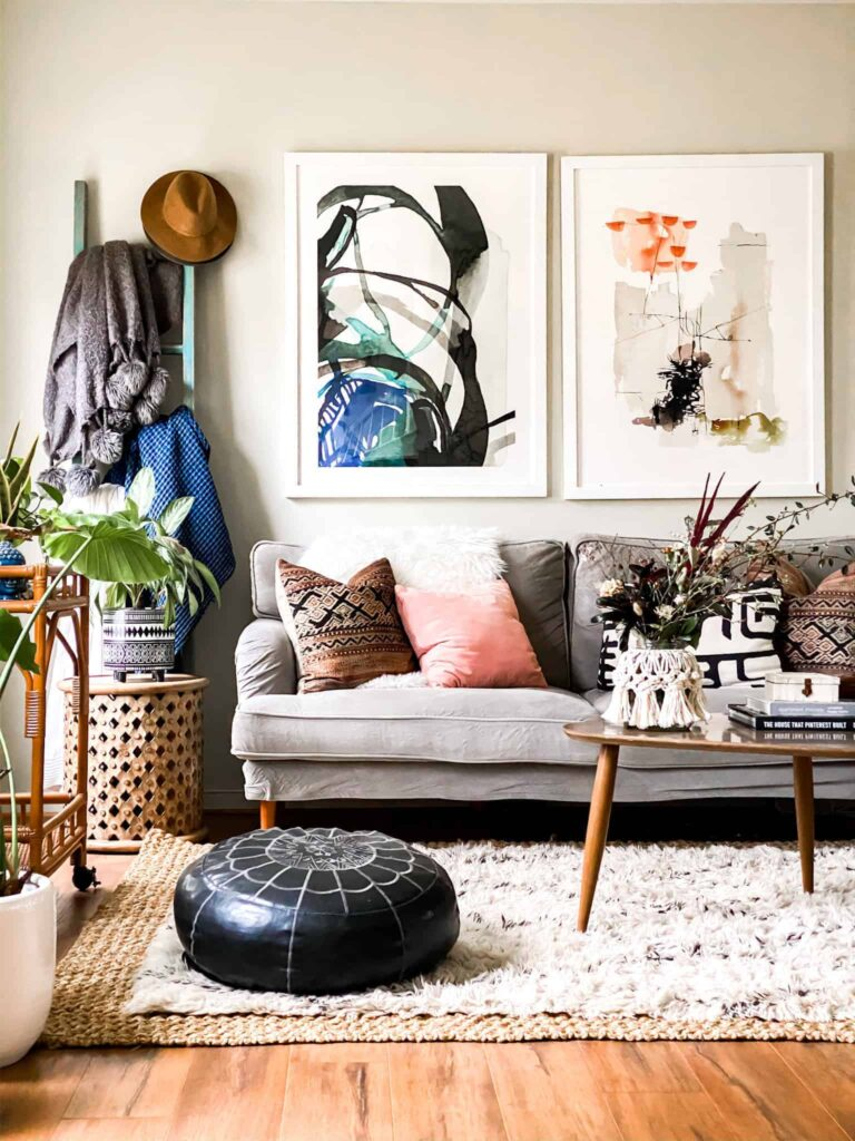 Eclectic living room with macrame jar cover