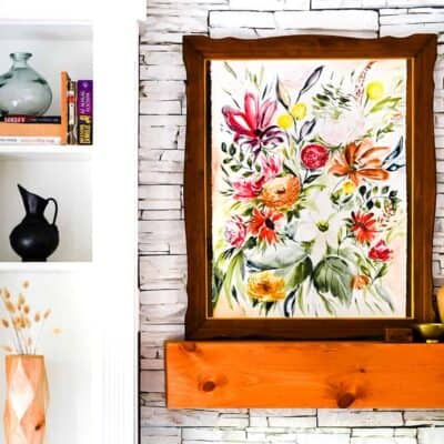 SPRING MANTEL DECOR – LARGE FLORAL ART