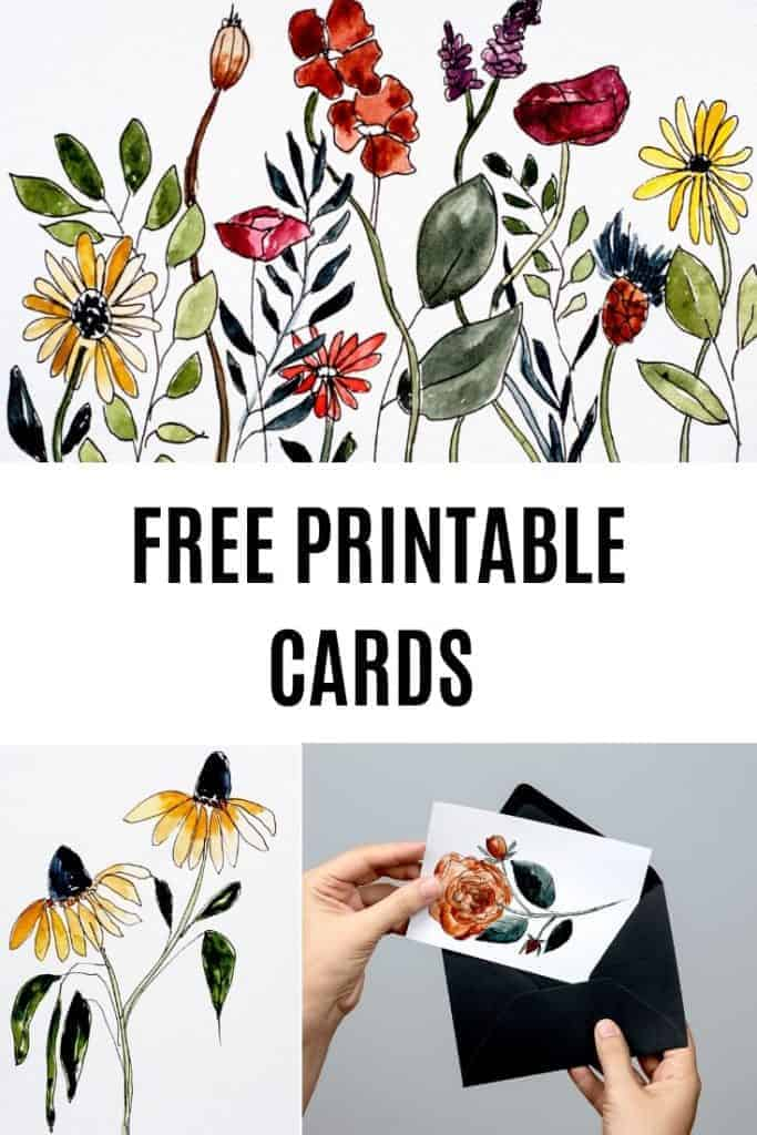 A great collection of watercolor floral cards free printables