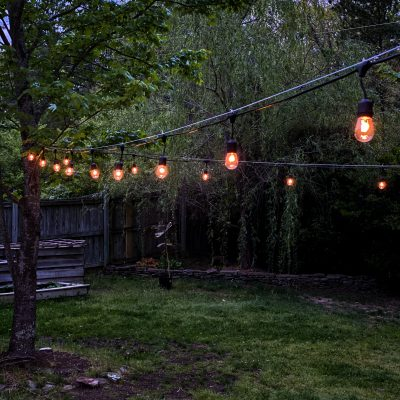Outdoor String Lights across a backyard