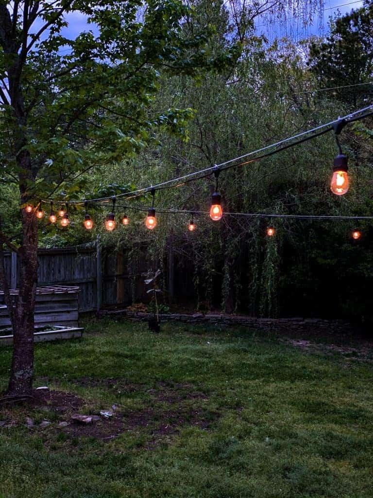 Outdoor String Lights across a backyard