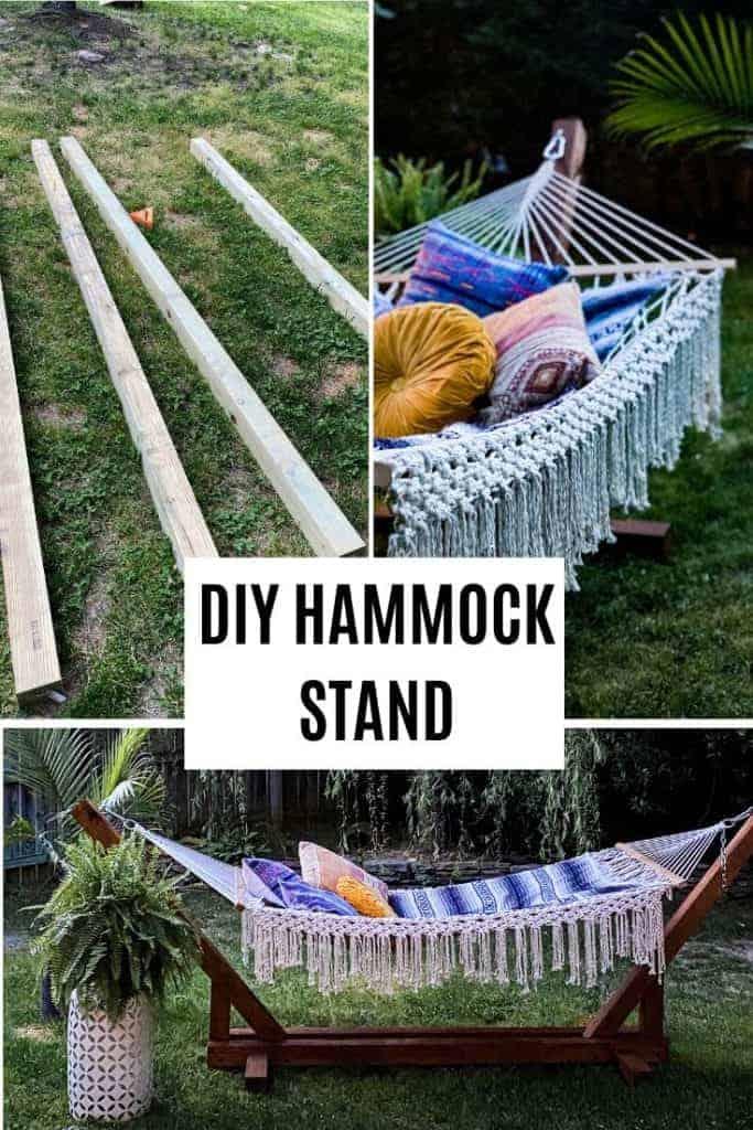 Easy DIY hammock stand with boho macrame hammock and bohemian pillows