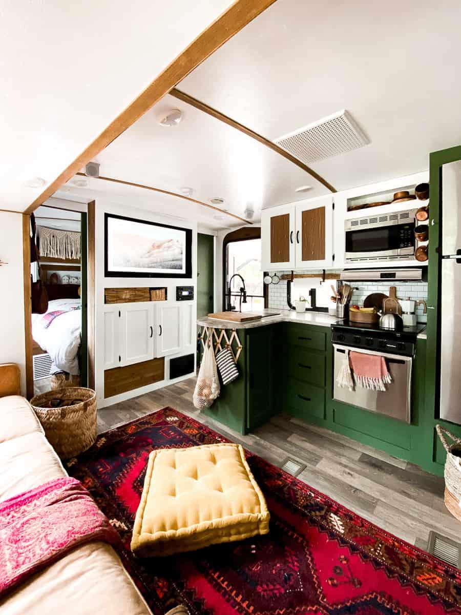Camper living area. Beautiful camper renovation.