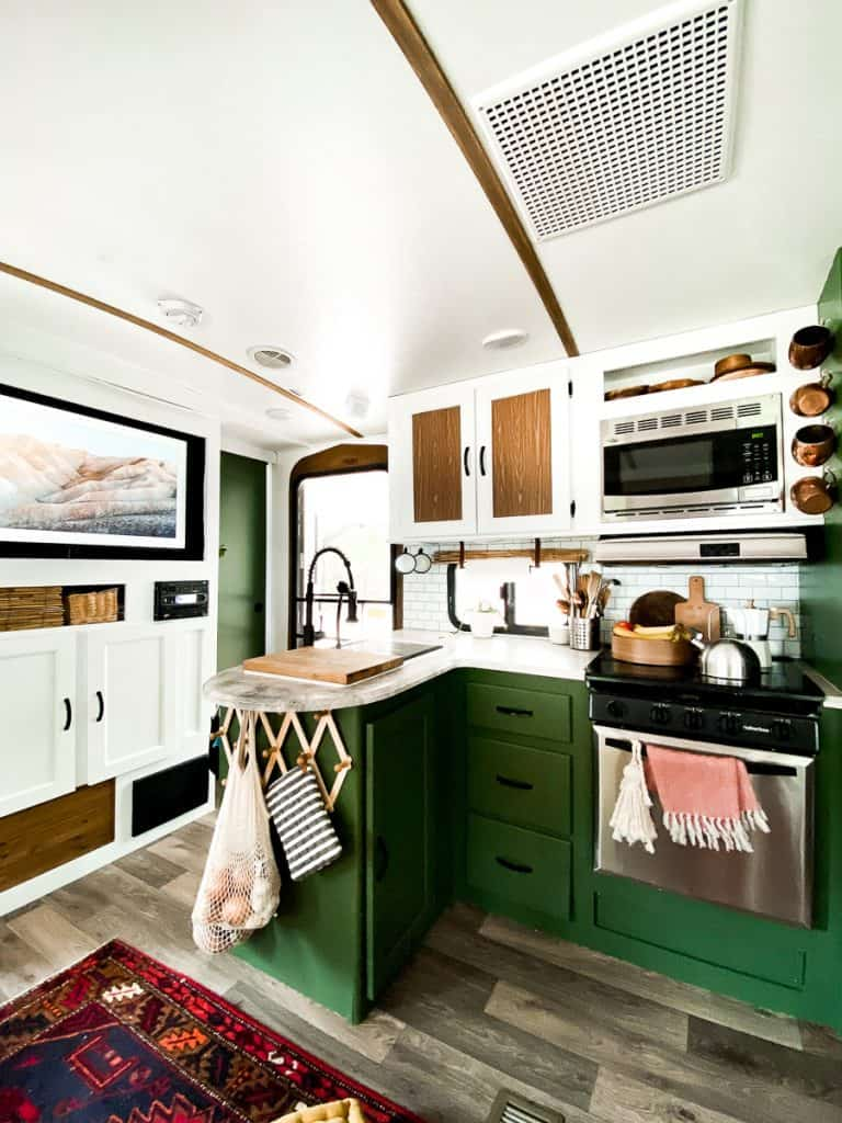 Amazing and colorful kitchen in a camper.